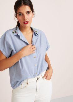 4f7e119d2e2 Embroidered fine-stripe shirt Printed Shorts