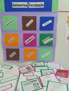 Jogo dos Gêneros!              COMO BRINCAR:  Confeccione um painel com bolsos de cartolina colorida, cole em cada um o nome dos gêneros q...
