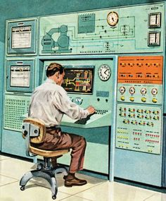 Print of Colored art of a man seated at an old fashioned computer - Jigsaw Puzzle-Colored art of a man seated at an old fashioned Piece Jigsaw Puzzle made - Alter Computer, Computer Art, Computer Science, Illustrations Vintage, Illustration Art, Framed Art, Framed Prints, Canvas Prints, Wall Art