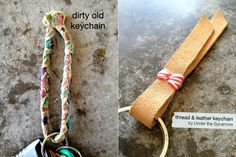 diy {thread & leather keychain}