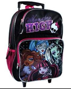 New Monster High Rolling Bag Suitcase Backpack School Travel Vacation Luggage Girls Rolling Backpack, Rolling Bag, Monster High School, Monster Girl, Girl Backpacks, School Backpacks, Diy For Girls, Gifts For Boys, High School Supplies