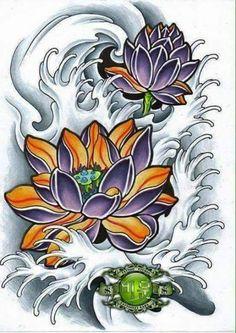 Lotto Japanese Flower Tattoo, Japanese Dragon Tattoos, Japanese Tattoo Designs, Japanese Flowers, Lotus Tattoo Design, Floral Tattoo Design, Flower Tattoo Designs, Rose Drawing Tattoo, Tattoo Drawings
