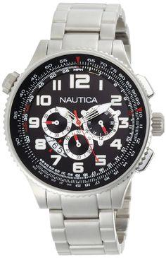 NAUTICA MENS N29523G OCN 46 BLACK DIAL WATCH
