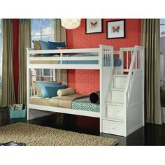 School House Twin over Twin Stair Bunk | Wayfair