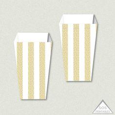 gold popcorn box, gold glitter, printable popcorn box, snack box, gold and white, bridal shower, baby shower, etsy