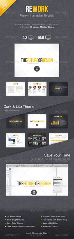 Buy Rework Keynote Presentation Template by Mird on GraphicRiver. See also PowerPoint Version Overview Rework Keynote Presentation Template with custom graphic elements and animation. Keynote Presentation, Presentation Skills, Presentation Design, Creative Powerpoint Presentations, Powerpoint Presentation Templates, Indesign Templates, Keynote Template, Graphic Design Templates, Slide Design