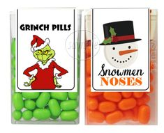 Christmas Stocking Stuffers Grinch Pills Snowmen Noses Tic Tac Labels  Stickers  PartyTimeLabels  Christmas Christmas fd24edb94bd3