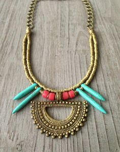 African Brass Turquoise Spike Tribal Love by IsabellaRaeJewelry, $48.00