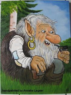 Handpainted by Anneke Legeer, the Netherlands, naar voorbeeld van Rolf Lidberg, Zweden Liden mei 2012 Beautiful Forest, Mythological Creatures, Almost Always, Gnomes, Adult Coloring, Mythology, Norway, Sweden, Fantasy Art