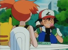 """Ash eating ice cream. After Misty pulls him away and tells him he can have more ice cream later, he says """"Can I have peach?"""" XD"""