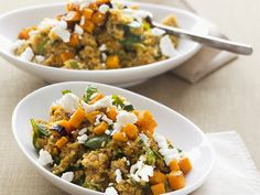 Quinoa mit Kürbis und Schafskäse Quinoa with pumpkin and feta cheese – Time: 30 min. Take 1 to 2 times the amount of vegetables and cheese! Raw Food Recipes, Veggie Recipes, Vegetarian Recipes, Dinner Recipes, Cooking Recipes, Healthy Recipes, Cooking Ideas, Delicious Recipes, Law Carb