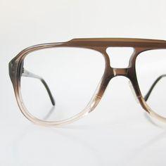 5da054ee87e 1970s Aviator Glasses Mens Eyeglasses Coffee Brown Oversized Men Guys Homme  Titmus USA Fade 70s Indie