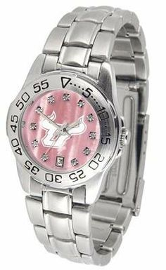 South Florida USF Bulls Ladies Pink Designer Dress Watch by SunTime. $72.95. Officially Licensed South Florida Bulls Ladies Pink Designer Dress Watch. Women. Links Make Watch Adjustable. Stainless Steel-Mother Of Pearl Dial. Scratch Resistant Crystal - Calendar Function With Rotating Bezel. South Florida Bulls ladies watch. College women's pink stainless steel dress watch with mother of pearl and Swarovski crystals. Date calendar function plus a rotating bezel/timer circle...