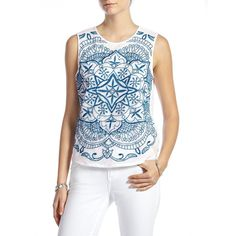 Lucky Brand Embroidered Mesh Tank ($49) ❤ liked on Polyvore