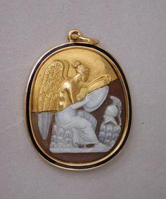 Pendant, History, carved sardonyx, gold, enamel, France, 1900