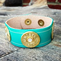 Gold Crystal 12 Gauge Shotgun Shell Leather Bracelet in Turquoise $34.99!