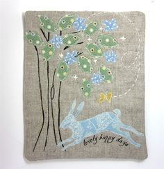 iPad Cover Leaping Hare in Woodland - Folksy by Modern and Vintage Year Of The Rabbit, Hare, Textile Art, Woodland, Ipad, Embroidery Ideas, Martha Stewart, Sewing, Rabbits
