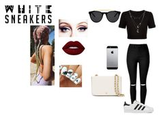 """""""#BrightWhiteSneakers"""" by moniybrooks on Polyvore featuring Ted Baker, adidas, Charlotte Russe, Tory Burch, Lime Crime and Smoke & Mirrors"""