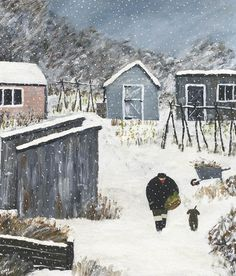 Gary Bunt | Christmas Veg - Down on the allotment  By the rusty sheds  A man and his dog  Are heading home   After gathering winter veg
