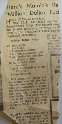 Picture of Mamie Eisenhower fudge AKA Mamie's Million Dollar Fudge. I love this fudge with or without nuts! Retro Recipes, Old Recipes, Vintage Recipes, Candy Recipes, Sweet Recipes, Dessert Recipes, Cooking Recipes, Recipies, Italian Recipes
