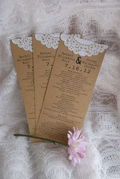 Custom Vintage Lace Doily Wedding Programs
