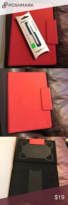 M-Edge White Stylus and Red Kindle Case Fits a 7inch Kindle Fire (or anything comparable in size) - Has slip grip, and can be folded to stand on its own - Stylus works with multiple devices (including Kindle Fire, IPad, etc.) - Has small front blemish (pictured) M-Edge Accessories Tablet Cases