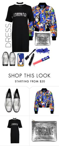 """Choker Dress and Looney Tunes"" by loves-elephants ❤ liked on Polyvore featuring Casetify, Moschino, Boohoo, Sarah Baily, Lime Crime and chokerdress"