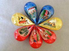 Christmas Ornament Plastic Jewel Brite Vintage Yellow Red Tear Drop 3D Lot of 7   eBay