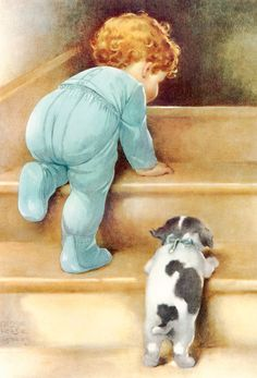 Peter and Jake Head Upstairs to Bed as Papa Says Nitey-Nite by Bessie Pease Gutmann