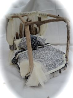 Dolls House Miniatures - Drift Away Four Poster Bed by LittleHouseAtPriory (Etsy)