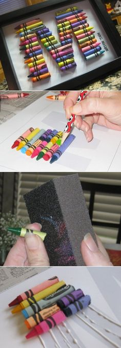 The Cutest Baby DIY Projects Crayon Initials...maybe only with certain colors to match the nursery?