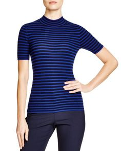 Theory Leenda Striped Mock Neck Top