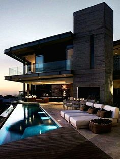 Modern architecture house design with minimalist style and luxury exterior and interior and using the perfect lighting style is inspiration for villas mansions penthouses Dream Home Design, Modern House Design, Architecture Design, Luxury Homes Dream Houses, Dream Homes, Dream House Exterior, House Goals, Future House, Design Case