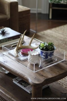 Blogger Stylin Home Tours Spring Edition Tray Styling Coffee Table Decorating