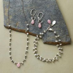 DAWN'S EARLY LIGHT COLLECTION - Faceted dewdrops of pink jade are the focus of these pretty pieces, attended by faceted moonstones glinting with light.