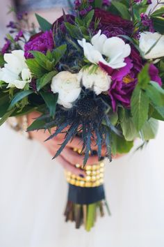 Bridal bouquet with poppies and a thistle | Jarusha Brown Photography | see more on: http://burnettsboards.com/2014/06/rocker-chic-girlie-sequins/