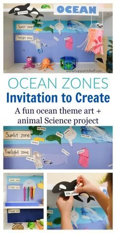 Creative Ocean Zones Activity for Kids A fun art and animal Science activity to learn about ocean zones for kids. Invitation to Create sea creatures and learn about the three ocean zones - Happy Tot Shelf Sea Activities, Animal Activities, Kindergarten Activities, Preschool Activities, Kid Science, Animal Science, Summer Science, Physical Science, Science Classroom