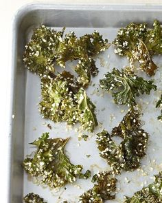 Snack - Sesame Kale Crisps    Ingredients  1 bunch kale, stems removed and leaves torn into 2-inch pieces  2 tablespoon extra-virgin olive oil  1 tablespoon fresh lemon juice  1/4 cup sesame seeds  Coarse salt  Directions  Heat oven to 200 degrees.    In a large bowl, drizzle kale with oil, lemon juice, and sesame seeds. Season with salt. Toss until evenly coated.    Transfer to a rimmed baking sheet and bake for 30 minutes. Remove from oven and, using a spatula, flip kale leaves over…