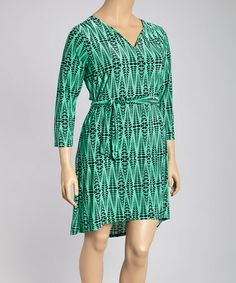 Look what I found on #zulily! Green & Black Tribal Tie-Waist Long-Sleeve Dress - Plus #zulilyfinds