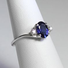 Sterling Silver Blue Sapphire Ring with Diamonds (Lab) FREE RE-SIZING / Sapphire Silver Ring