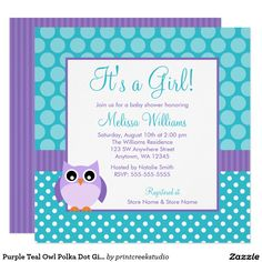 Purple and Teal Baby Shower Invitations