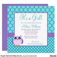 Purple Teal Owl Polka Dot Girl Baby Shower Invitations