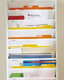 Family In-Box...vertical magazine rack re-purposed for homework and mail brightened with colorful folders.