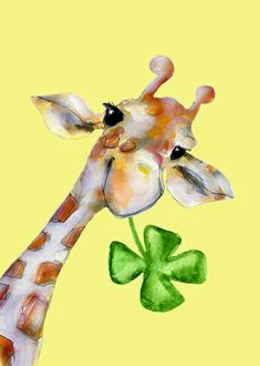 Giraffe with four leaf clover Giraffe Art, Cute Giraffe, Giraffe Painting, Animals And Pets, Baby Animals, Cute Animals, Giraffe Pictures, Animal Pictures, Giraffe Images