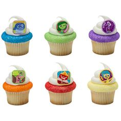 Inside Out Riley's Emotions Cupcake Rings Cake Decor Toppers