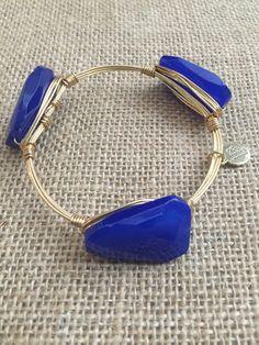 Bourbon and Boweties Royal Blue Twisted Rectangle Bangle Standard Wrist