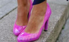 women's shoes hot pink clear pumps