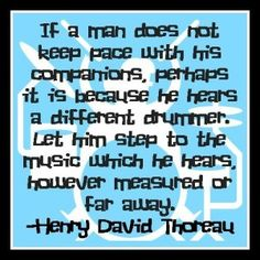 Inspirational Quote Different Drummer Henry David Thoreau Quote