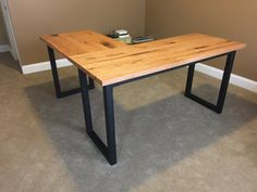 Wood and Steel L shaped desk by ChuckCustomCreations on Etsy