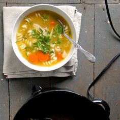 Using a slow cooker means you can forget about this one pot chicken noodle soup until it's dinner time.